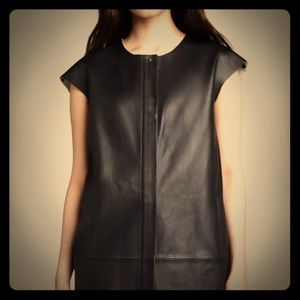 J BRAND Black Sleeveless Leather Jacket S